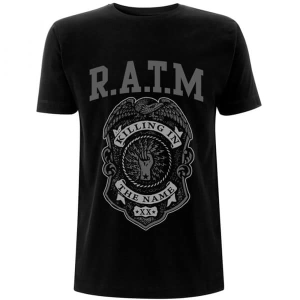 Rage Against The Machine Mens T-Shirt: Grey Police Badge (XX-Large)