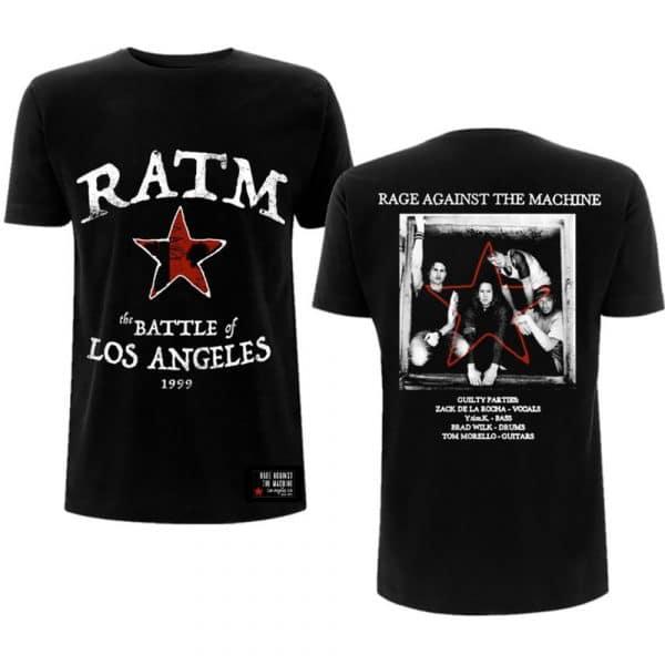 Rage Against The Machine Mens T-Shirt: Battle Star (Back Print) (XX-Large)
