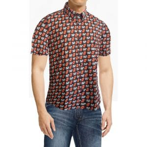 The Rolling Stones Mens Casual Shirt: Tongue and Text (All Over Print) (XX-Large)