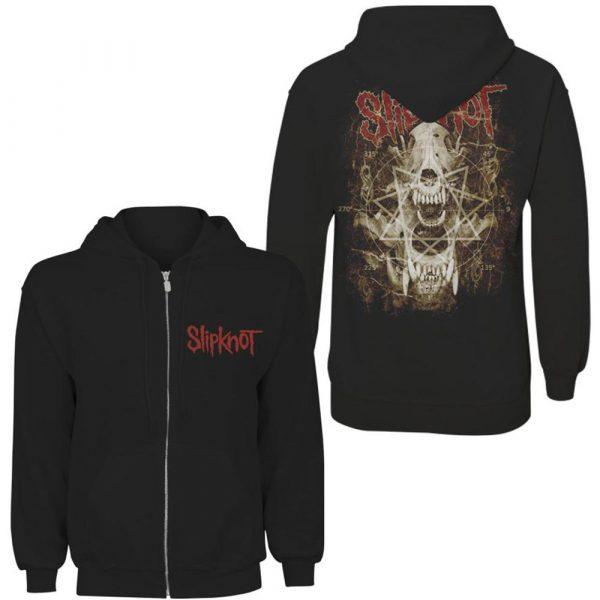 Slipknot Mens Zipped Hoodie: Skull T-Shirtth (XX-Large) (Back Print)