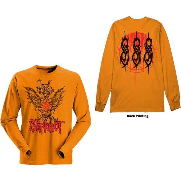 Slipknot Mens Long Sleeved T-Shirt: Winged Devil (Back Print) (XX-Large)