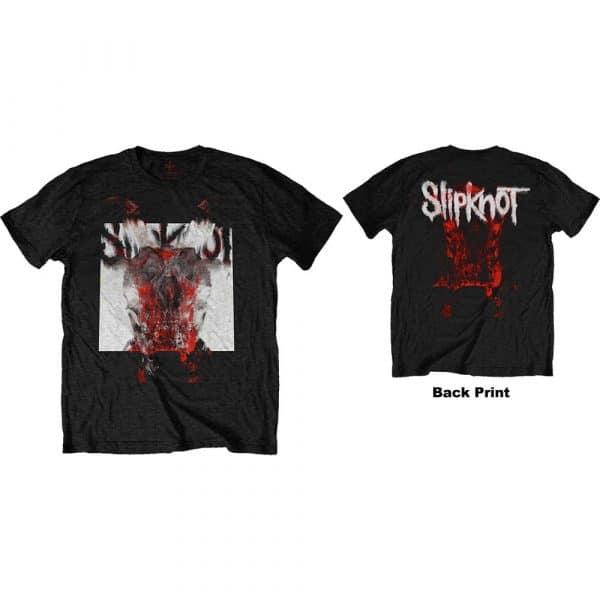 Slipknot Mens T-Shirt: Devil Single - Logo Blur (Back Print) (XXX-Large)