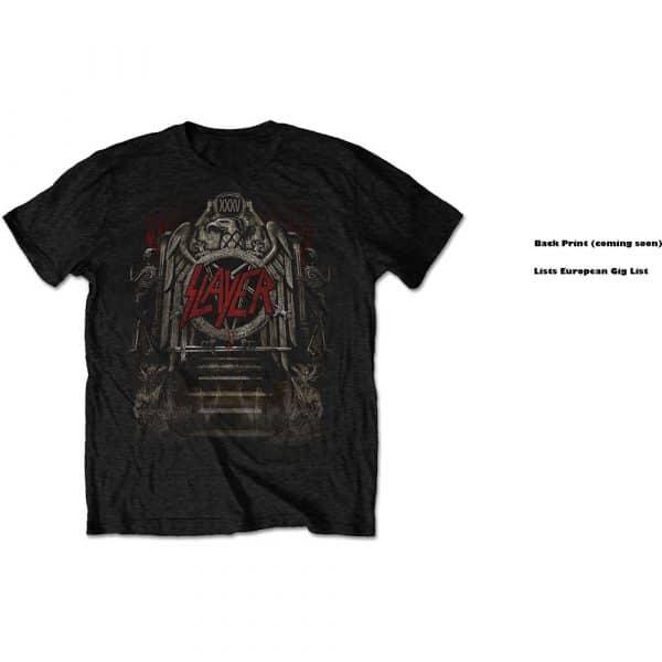 Slayer Mens T-Shirt: Eagle Grave European Tour 2018 (Back Print/Ex Tour) (XX-Large)