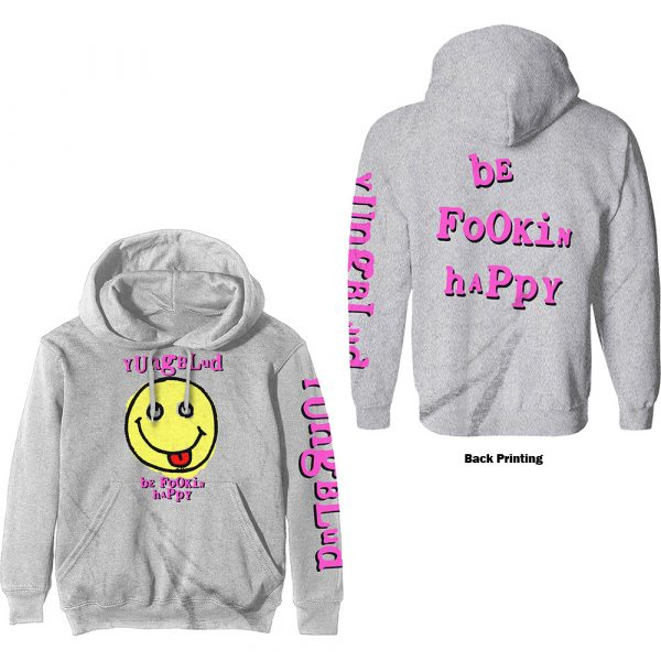 Yungblud Mens Pullover Hoodie: Raver Smile (Back Print) (XX-Large)