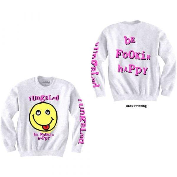 Yungblud Mens Sweatshirt: Raver Smile (Back & Arm Print) (XX-Large)