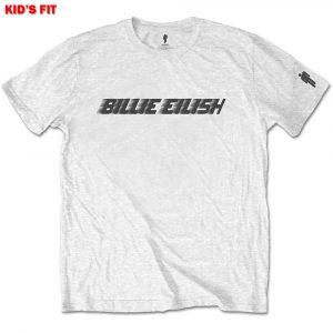 Billie Eilish Kids T-Shirt: Black Racer Logo (Sleeve Print) (13 - 14 Years)