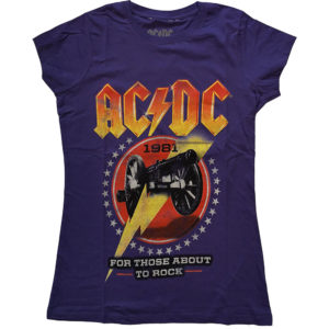 AC/DC Ladies Purple T-Shirt: For Those About To Rock '81 (X-Large)