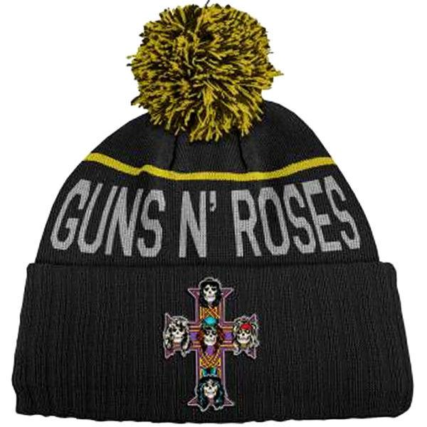 Guns N' Roses Unisex Bobble Beanie Hat: Cross
