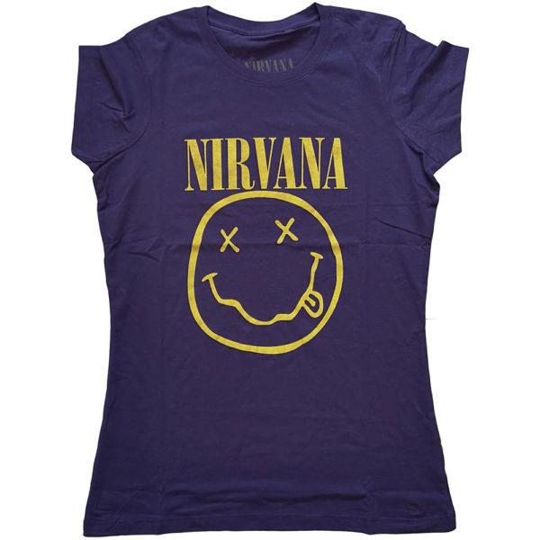 Nirvana Ladies Purple T-Shirt: Yellow Smiley (X-Large)