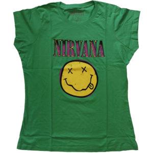 Nirvana Ladies Green T-Shirt: Xerox Smiley Pink (X-Large)