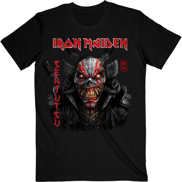 Iron Maiden Mens T-Shirt: Senjutsu Black Cover Vertical Logo (XX-Large)