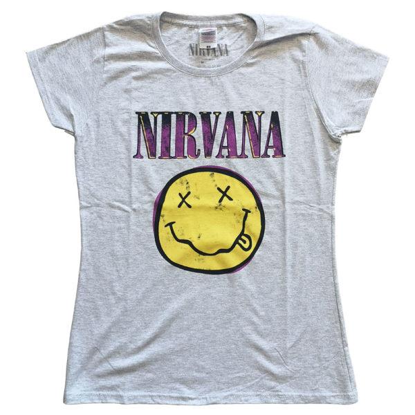 Nirvana Ladies T-Shirt: Xerox Smiley Pink (XX-Large)